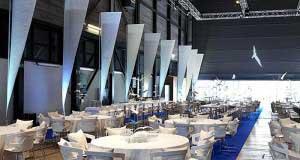 Die Werft Halle bereit für ein Bankett